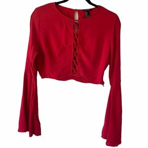 Forever 21 Red Bell Sleeve Crop Top